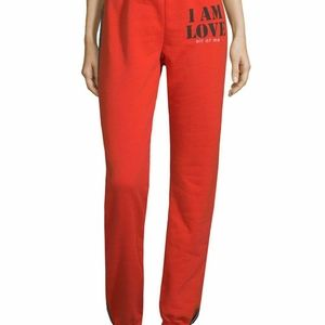 Peace Love World Red Side Stripe Joggers